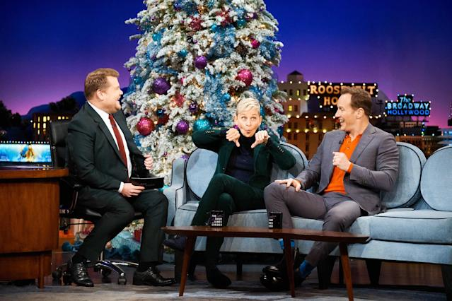The Late Late Show with James Corden airing Tuesday, December 11, 2018, with guests Ellen DeGeneres and Patrick Wilson. (Photo by Terence Patrick/CBS via Getty Images)
