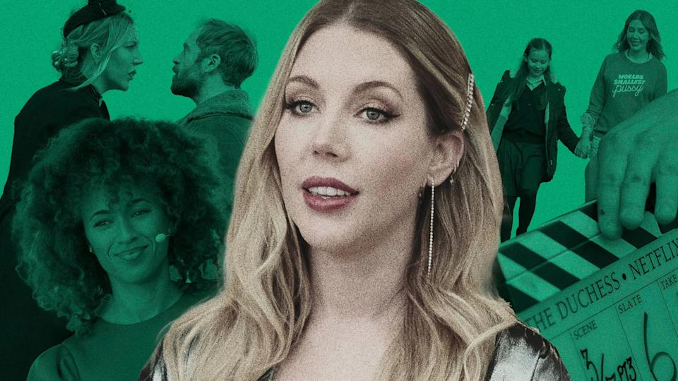 """Comedian Katherine Ryan stars in """"The Duchess"""" as a devoted single mom who just happens to be kind of a nightmare. (Photo: Illustration: Damon Dahlen/HuffPost; Photos: Netflix)"""