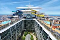 """<p>What's New: The industry's biggest innovator, <a href=""""http://www.fodors.com/cruises/royal-caribbean-international-676685"""" rel=""""nofollow noopener"""" target=""""_blank"""" data-ylk=""""slk:Royal Caribbean"""" class=""""link rapid-noclick-resp"""">Royal Caribbean</a>, has upped the ante for 2016, when it's set to launch the world's largest cruise ship: the 5,497-passenger, 16-deck Harmony of the Seas. The behemoth vessel comes equipped with some repeat recent Royal innovations like the Bionic Bar (helmed by robot bartenders) and LCD-screen """"virtual balconies"""" in inside cabins, but boasts some standout new features, too, like the tallest slide at sea (at 10 stories high), as well as some of the largest staterooms in the company's fleet. The ship debuts in May with an inaugural summer season in the Mediterranean; 7-night itineraries sail round-trip from Barcelona or Rome, calling on popular ports like Naples, Marseille, and more.</p><p>Set Sail: Sail the Mediterranean from May through November; rates from $1,017/person. The Harmony moves to Fort Lauderdale come November for weeklong Caribbean sailings. (Photo: Courtesy of Royal Caribbean)<br></p>"""