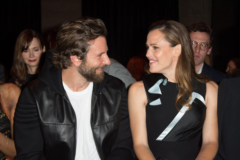 Bradley Cooper and Jennifer Garner at the Versace Haute Couture show in July 2016.