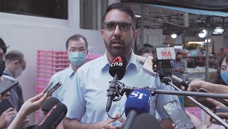 Worker's Party chief Pritam Singh addresses reporters at a doorstop outside Rivervale Plaza on Tuesday, 7 July 2020. PHOTO: Nick Tan/Yahoo News Singapore