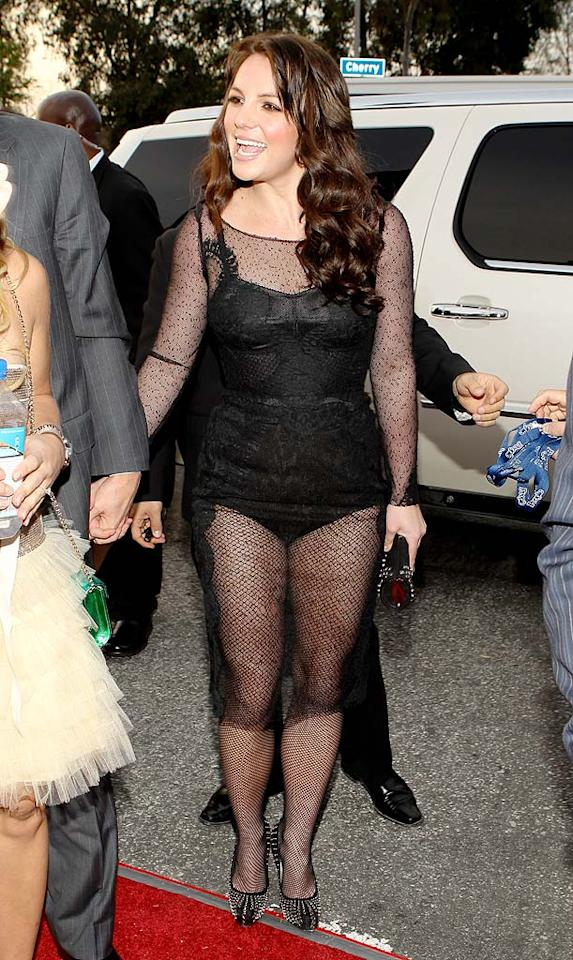 """Britney Spears  Grade: F   We were hoping the pop tart would continue her comeback in an award-winning dress, but she undoubtedly earned herself an 'F' thanks to black widow-inspired bomb, which featured an incredibly unflattering fishnet overlay. Christopher Polk/<a href=""""http://www.gettyimages.com/"""" target=""""new"""">GettyImages.com</a> - January 31, 2010"""
