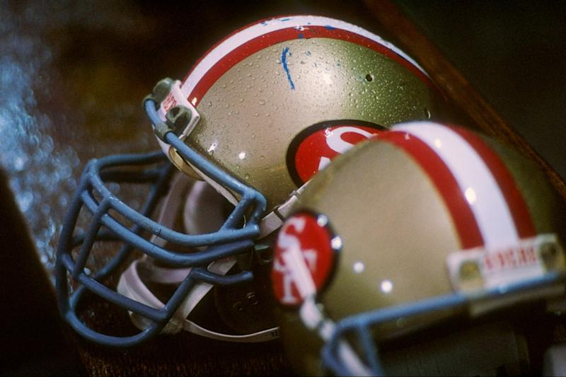 General view of the helmets worn by the San Francisco 49ers.