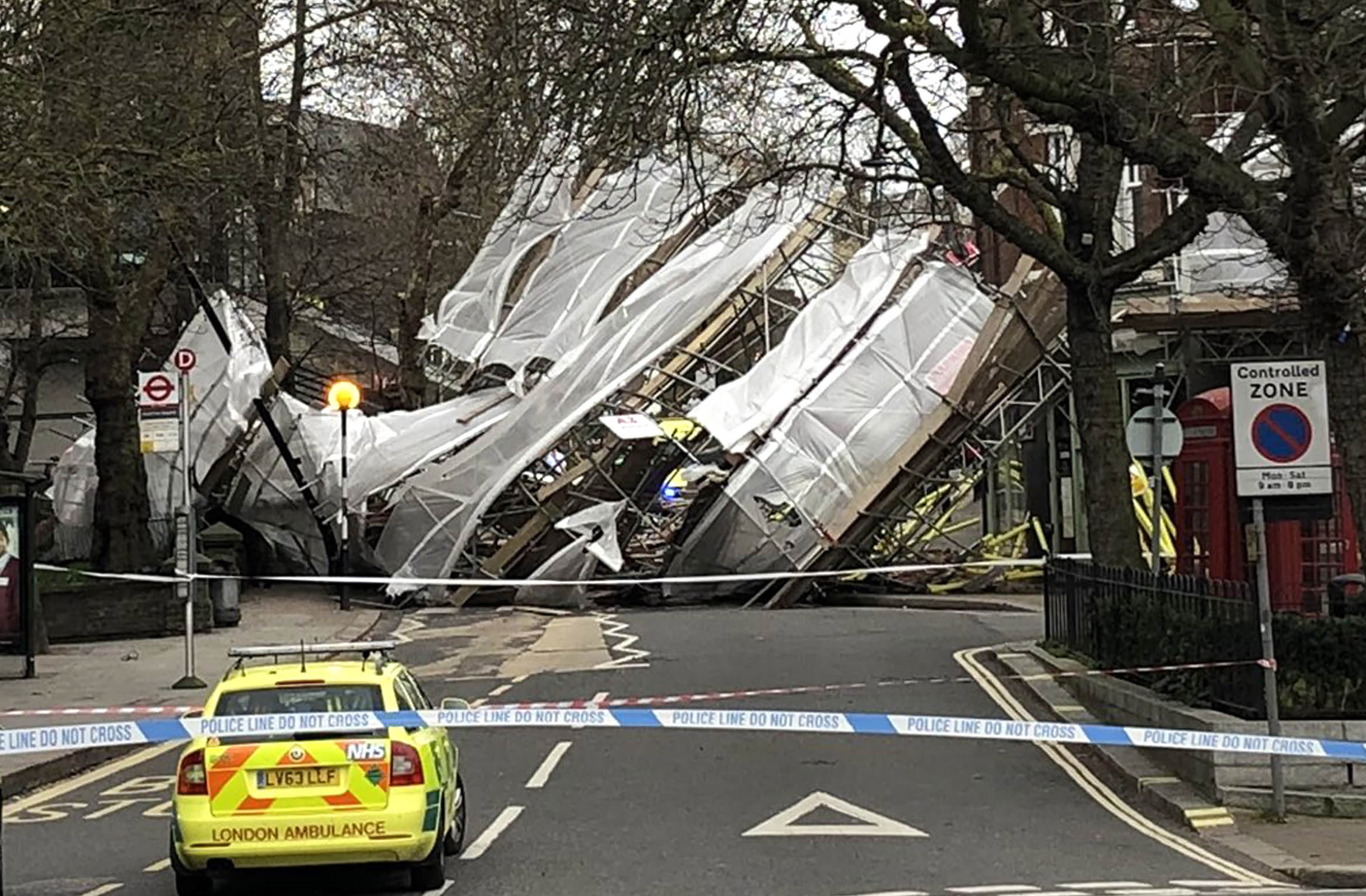 The scaffolding collapsed in 55mph winds in north London on Thursday (Picture: PA)