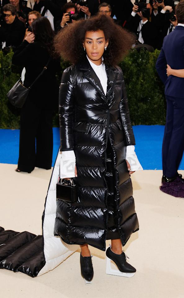 <p>She took the puffa jacket trend to a whole new level. <em>[Photo: Getty]</em> </p>