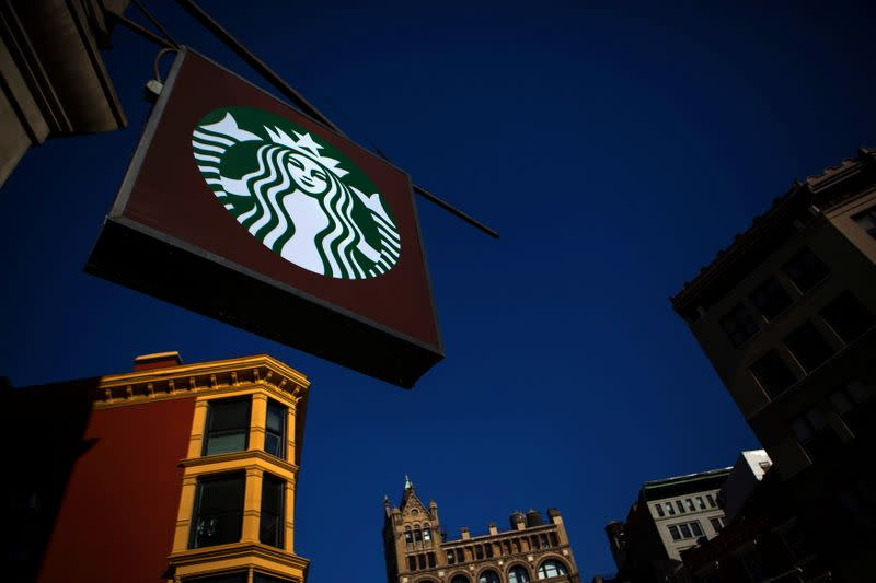 FILE PHOTO: The sign of a Starbucks store is seen in New York