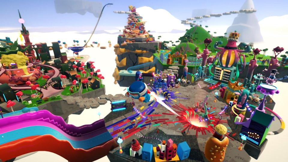 """""""Blankos Block Party"""" is an colorful art-filledopen-world game where you can explore an ever-growing variety of racing, tag, collectionand shooting levels, build your own levels and create competitive mini-parties with friends."""