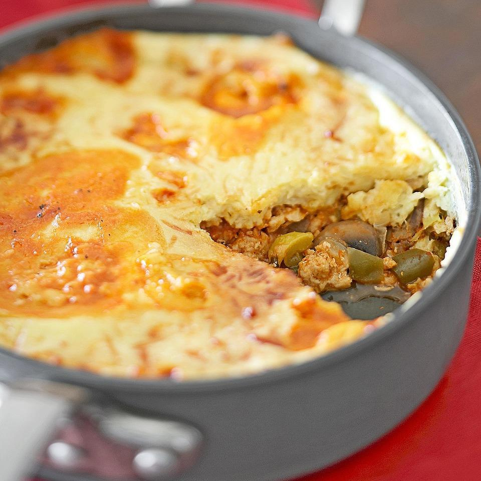 """<p>This unique take on a pizza casserole combines mushrooms, summer squash, onion, sweet pepper and ground turkey. Not only is it easy to prepare, but it fits into a diabetic friendly diet. <a href=""""http://www.eatingwell.com/recipe/263765/popover-pizza-casserole/"""" rel=""""nofollow noopener"""" target=""""_blank"""" data-ylk=""""slk:View recipe"""" class=""""link rapid-noclick-resp""""> View recipe </a></p>"""