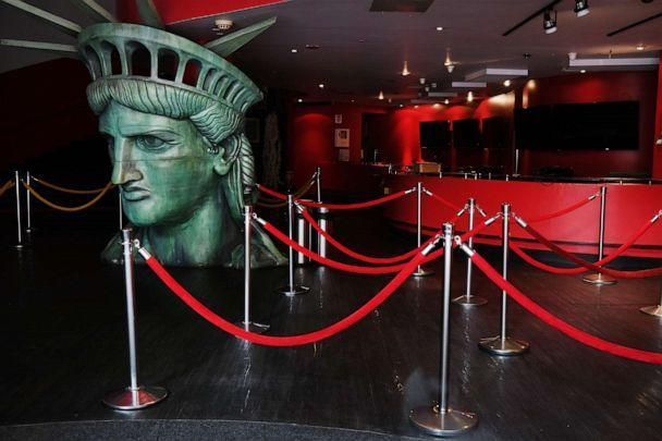 PHOTO: A replica of the head of the Statue of Liberty sits in the closed entrance Madame Tussauds museum along New York City's iconic 42nd Street on Aug. 6, 2020 in New York City. (Spencer Platt/Getty Images)