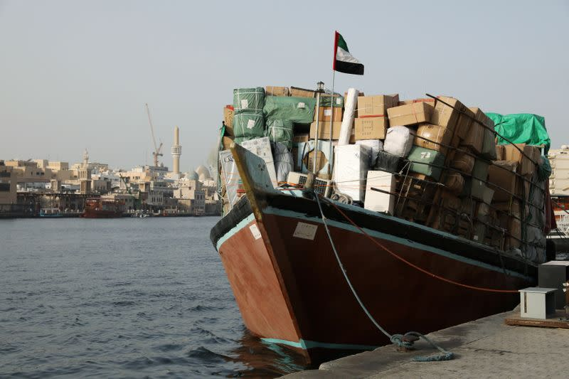 A dhow loaded with goods bound for Iran is seen along the creek in old Dubai