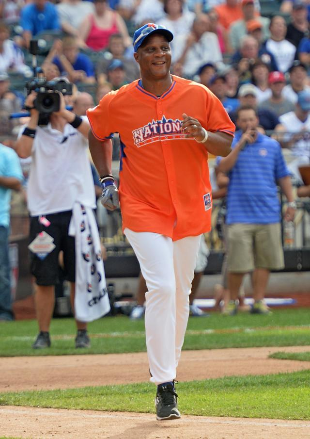 NEW YORK, NY - JULY 14: Former professional baseball player Darryl Strawberry attends the Taco Bell All-Star Legends & Celebrity Softball Game at Citi Field on July 14, 2013 in New York City. (Photo by Mike Coppola/Getty Images)