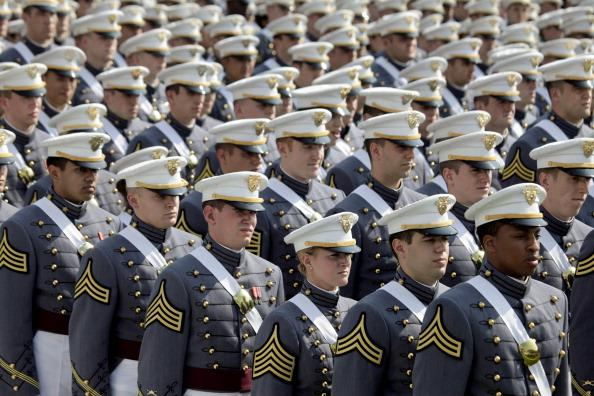 Cadets of The United States Military Academy prepare to take their seats for a graduation and commissioning ceremony May 26, 2012 in West Point, New York. U.S. Vice President Joe Biden addressed the approximately 1,000 members of the Class of 2012 who received Bachelor of Science degrees and be commissioned as second lieutenants in the US Army. (Photo by Lee Celano/Getty Images)
