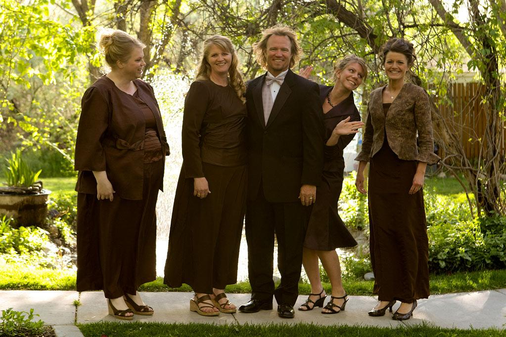 """Kody and his wives.  Janelle, Christine, Kody, Meri, and Robyn on """"Sister Wives."""""""