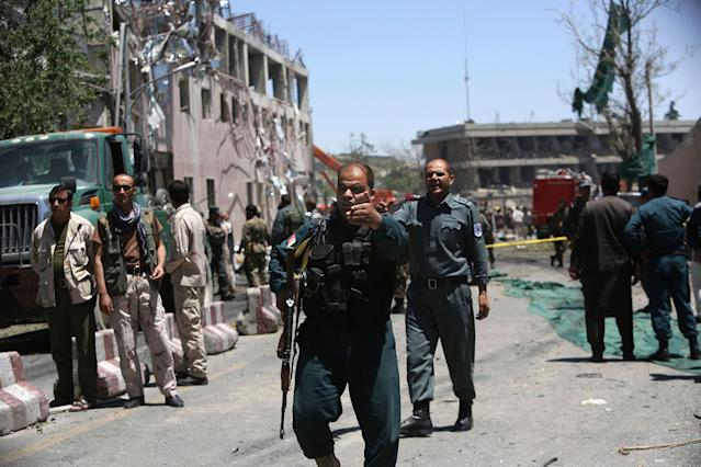 <p>Security forces inspect near the site of a suicide attack where the German Embassy is located in Kabul, Afghanistan, Wednesday, May 31, 2017. (AP Photos/Rahmat Gul) </p>