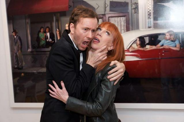 "Photographer Tyler Shields and Kathy Griffin attend Shields's ""Provocateur"" opening in L.A on May 11. (Photo: Earl Gibson III/Getty Images)"