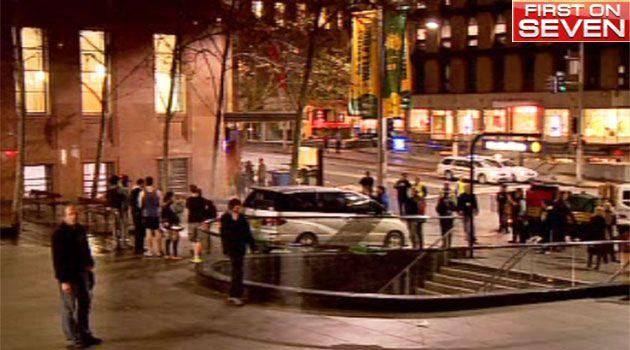 A crowd gathered in Martin Place after the Occupy Sydney site was cleared at about 8 o'clock on Wednesday night. Photo: 7News