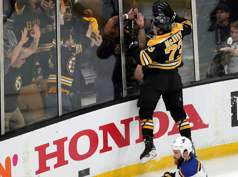 Bruins' Charlie McAvoy ties game after questionable penalty