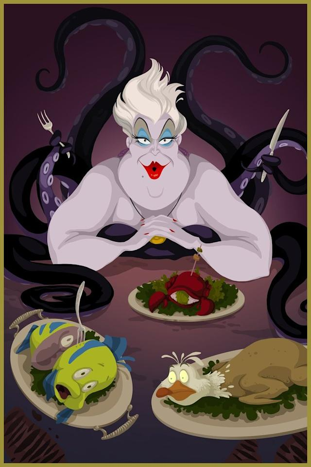 "<div class=""caption-credit""> Photo by: Justin Turrentine/DeviantArt.com</div><div class=""caption-title"">The Little Mermaid</div>Evil Sea Witch Ursula sits down to a hearty meal of Flounder, Sebastian the crab, and Scuttle the seagull. Perhaps the fork came from Ariel's own collection of special treasures? <br>"