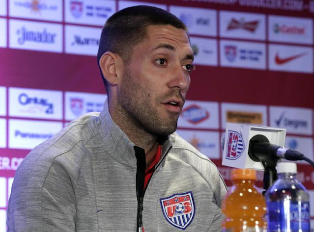 U.S. World Cup soccer team captain Clint Dempsey answers questions during a news conference in New York, Friday, May 30, 2014. The team is holding a pep rally in Times Square leading to Sunday's exhibition against Turkey, the second of three warmup matches for the Americans before next month's tournament in Brazil. (AP Photo/Richard Drew)