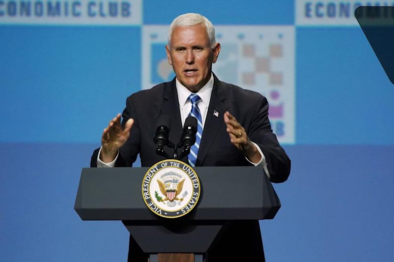 Vice President Mike Pence speaks to the Detroit Economic Club on Monday, August 19, 2019, at the Motor City Casino Sound Board.