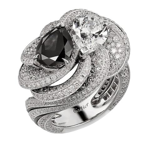 Cartier Carbonado ring in white gold with black and white diamonds