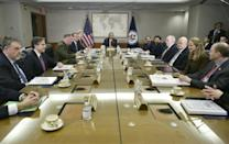 Barack Obama leads a 2016 National Security Council meeting that includes several officials tapped for top posts by President-elect Joe Biden including Antony Blinken, John Kerry and Avril Haines