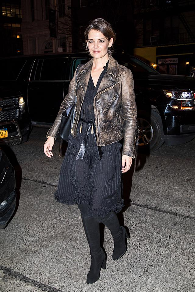 <p>The actress was rocker chic Thursday as she arrived at the Bowery Hotel in New York for Delta Airlines' pre-Grammys party. (Photo: Alessio Botticelli/GC Images) </p>