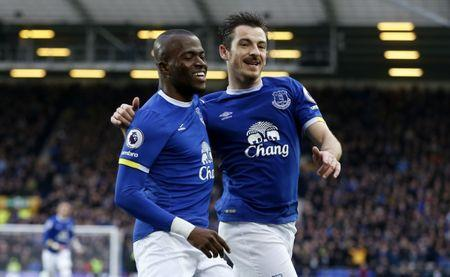 Everton's Enner Valencia  celebrates scoring their second goal with Leighton Baines (R)