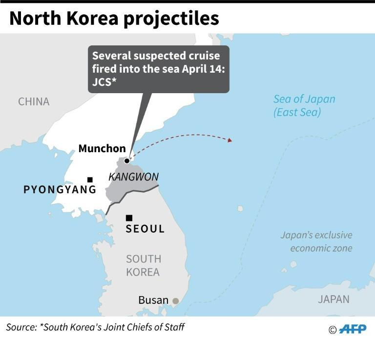 Map showing Munchon, North Korea where projectiles were fired into the sea