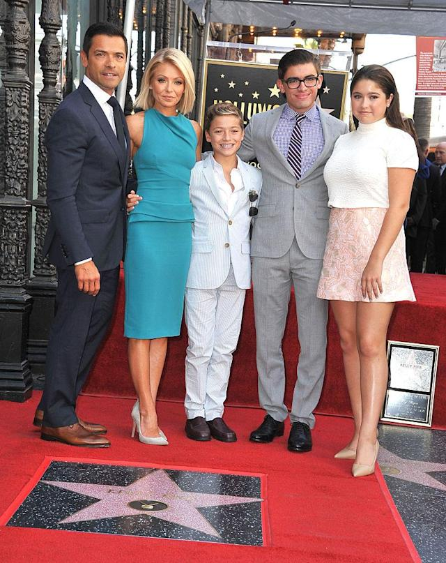 Mark Consuelos, Kelly Ripa, and their kids celebrated on Oct. 12, 2015, when she was honored with a star on the Hollywood Walk of Fame. (Photo: Steve Granitz/WireImage)
