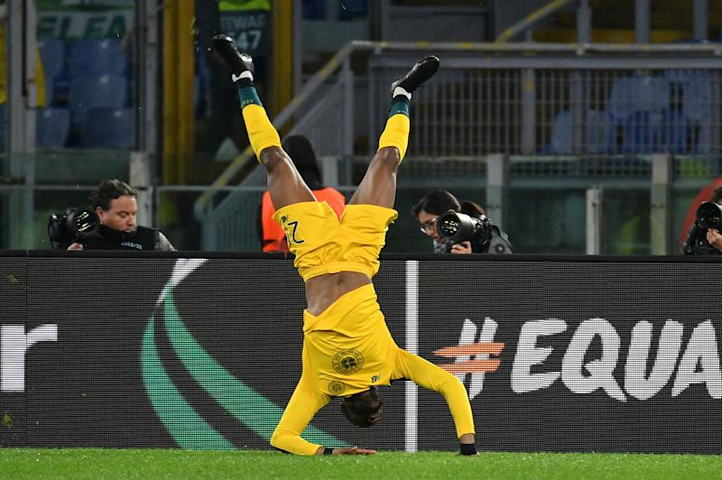 ROME, ITALY - NOVEMBER 07: Oliver Ntcham of Celtic FC celebrates a second goal during the UEFA Europa League group E match between Lazio Roma and Celtic FC at Stadio Olimpico on November 7, 2019 in Rome, Italy. (Photo by Marco Rosi/Getty Images)
