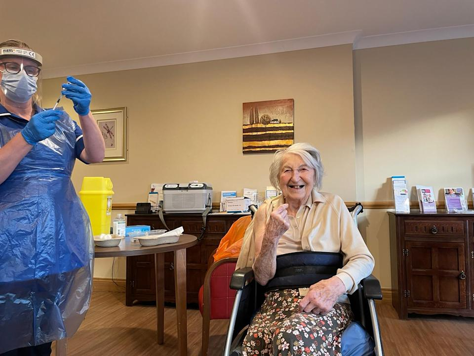 Mrs Birrell was 'thrilled' to receive the vaccine. (Foxholes Care Home/PA)