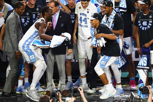 <p>North Carolina Tar Heels forward Theo Pinson (1) dances with teammates after the win over Gonzaga Bulldogs in the championship game of the 2017 NCAA Men's Final Four at University of Phoenix Stadium. Mandatory Credit: Mark J. Rebilas-USA TODAY Sports </p>