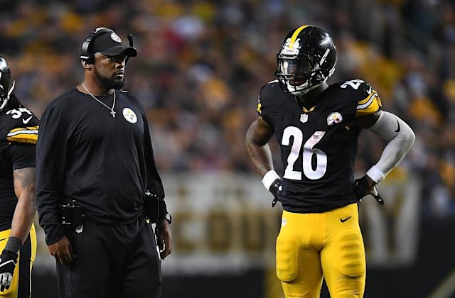With Le'Veon Bell still absent from Steelers practice Tuesday, head coach Mike Tomlin was forced to talk about the possibility of playing without him. (Getty)