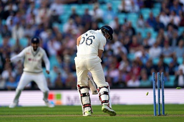 England's Joe Root was bowled by Umesh Yadav late in the day