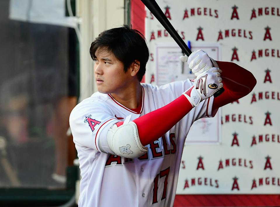 ANAHEIM, CA - JULY 02: Los Angeles Angels designated hitter Shohei Ohtani (17) in the dugout during a game against the Baltimore Orioles played on July 2, 2021 at Angel Stadium in Anaheim, CA. (Photo by John Cordes/Icon Sportswire via Getty Images)