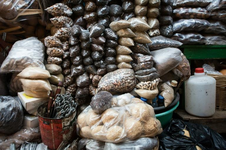 A rich array of spices are displayed at the Makola market in Accra