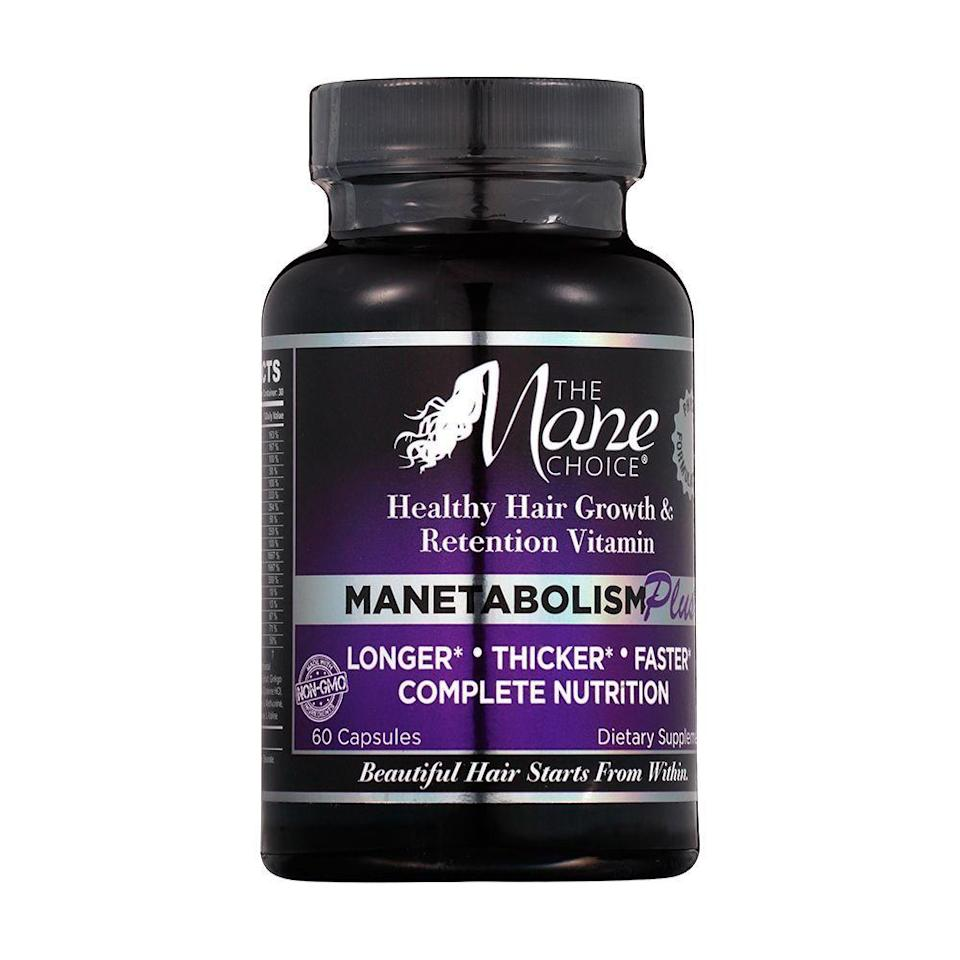 """<p><strong>The Mane Choice</strong></p><p>ulta.com</p><p><strong>$25.99</strong></p><p><a href=""""https://go.redirectingat.com?id=74968X1596630&url=https%3A%2F%2Fwww.ulta.com%2Fmanetabolism-plus-healthy-hair-vitamin-dietary-supplements%3FproductId%3Dpimprod2015412&sref=https%3A%2F%2Fwww.bestproducts.com%2Fbeauty%2Fg912%2Fhair-growth-products-supplements%2F"""" rel=""""nofollow noopener"""" target=""""_blank"""" data-ylk=""""slk:Shop Now"""" class=""""link rapid-noclick-resp"""">Shop Now</a></p><p>We don't just want hair to <em>grow</em>; we want strands that are long and strong. Manetabolism supplements aim to lengthen, strengthen, and make your 'do thicker than ever before. </p><p>The enhanced physician-developed formula focuses on more than just hair growth, as it's also a supplement for nails, skin, and the immune system. If you're looking for a multipurpose vitamin that's filled with <a href=""""https://www.dermstore.com/blog/top_ten/antioxidants-in-skin-care/"""" rel=""""nofollow noopener"""" target=""""_blank"""" data-ylk=""""slk:antioxidants"""" class=""""link rapid-noclick-resp"""">antioxidants</a> to fuel your every need, this would be it.</p>"""