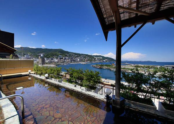 The beautiful view from the open-air bath Gekka Bijin