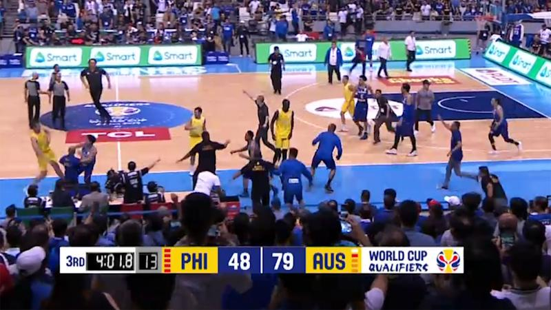 Many Philippino officials joined the melee. Pic: Fox Sports