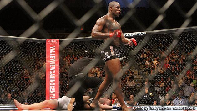 Ovince St-Preux celebrates after knocking out T.J. Cook during the Strikeforce event at Valley View Casino Center on August 18, 2012, in San Diego California. (Credit: Tracy Lee)