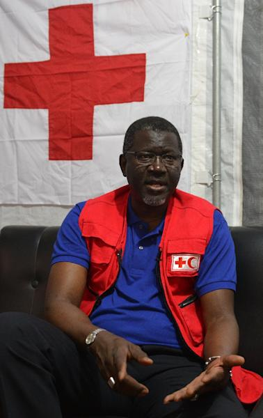 Secretary General of the International Federation of Red Cross and Red Crescent Societies Elhadj As Sy speaks during an interview with AFP in Kathmandu on May 16, 2015 (AFP Photo/Prakash Mathema)