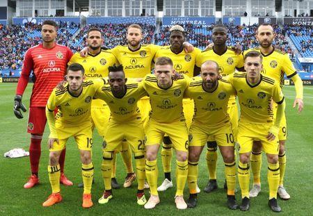 Oct 6, 2018; Montreal, Quebec, CAN; Columbus Crew poses for the photographers before the game against Montreal Impact at Stade Saputo. Mandatory Credit: Jean-Yves Ahern-USA TODAY Sports