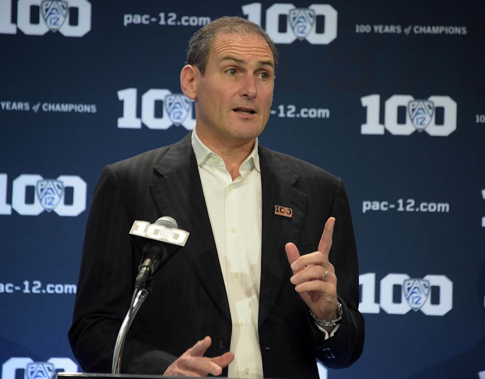Pac-12 commissioner Larry Scott has been under fire for the conference's declining revenue and his exorbitant salary. (Credit: USAT)