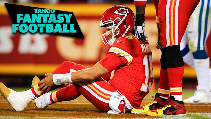 Should fantasy owners be concerned about Patrick Mahomes' ankle? (Photo by David Eulitt/Getty Images)