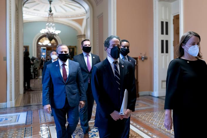 Democratic House impeachment managers on Feb. 13, 2021, in Washington. D.C.