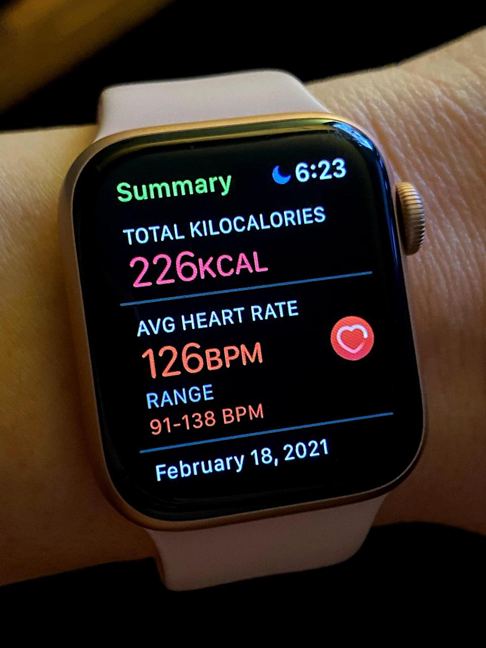 <p>The treadmill readout said I burned about 195 calories for this 30-minute workout. But I also tracked each workout over the two weeks with my Apple Watch, which noted that I burned a range between 210 and 230 total calories. For comparison, for me:</p> <p>30-minute rowing workout at a moderate pace: burns around 205 calories<br> 30-minute outdoor run: burns about 240 calories<br> 30-minute, chill-paced outdoor walk around block (with doggy pee breaks): burns about 140 calories</p> <p>I noticed that when doing these walking workouts, setting the pace to 3.0 mph forced me to keep that speed up. When I'm rowing, I'm in charge of keeping my pace, and on the Apple Watch, I could see that my heart rate range was about 20 BPM (beats per minute) lower than during the 12-3-30 workouts.</p> <h2>12-3-30 Workout Results</h2> <p>Over the course of the two weeks, I definitely felt leaner in my belly. And doing this walking workout inspired me to use my treadmill desk a little more. But I also didn't take as many walks outside because of freezing temps here in Vermont, so I think that evened out.</p>