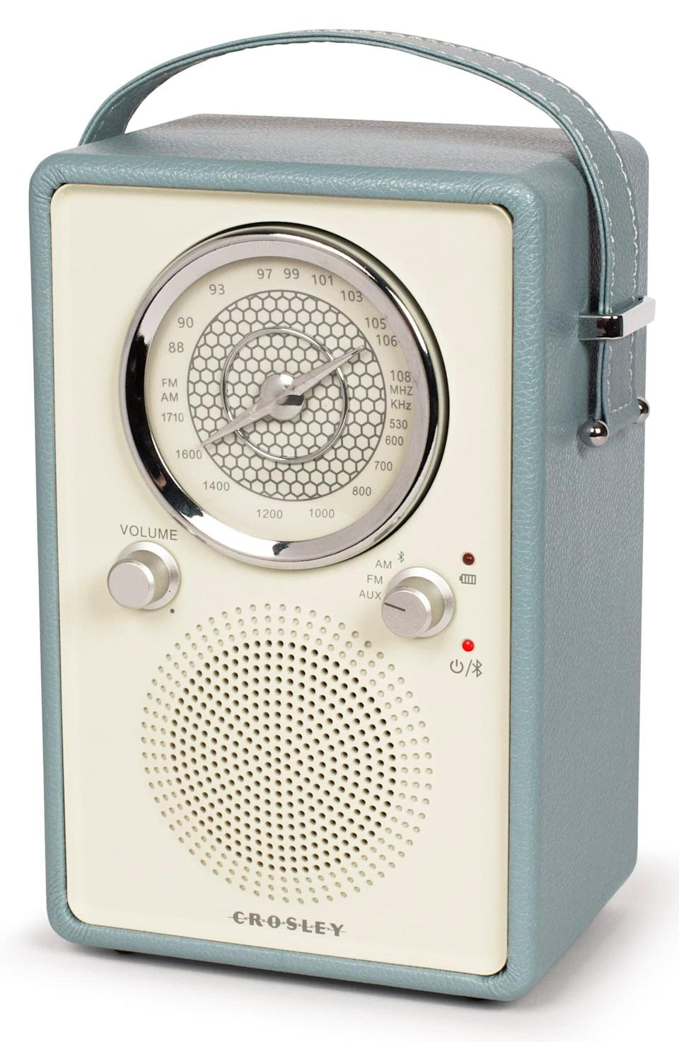 """If you're obsessed with your Crosley record player, this handheld AM/FM radio is for you. <a href=""""https://yhoo.it/3eMQvPP"""" rel=""""nofollow noopener"""" target=""""_blank"""" data-ylk=""""slk:Find it for $70 at Nordstrom"""" class=""""link rapid-noclick-resp"""">Find it for $70 at Nordstrom</a>."""