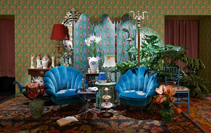 At Milan Design Week 2019, Gucci Décor's pop-up storefront was decorated in dizzying silk wallpapers and rich blue armchairs embroidered with butterfly, owl, and floral motifs.