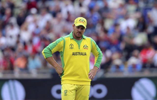 Australia's captain Aaron Finch during the Cricket World Cup semi-final match between Australia and England at Edgbaston in Birmingham, England, Thursday, July 11, 2019. (AP Photo/Rui Vieira)